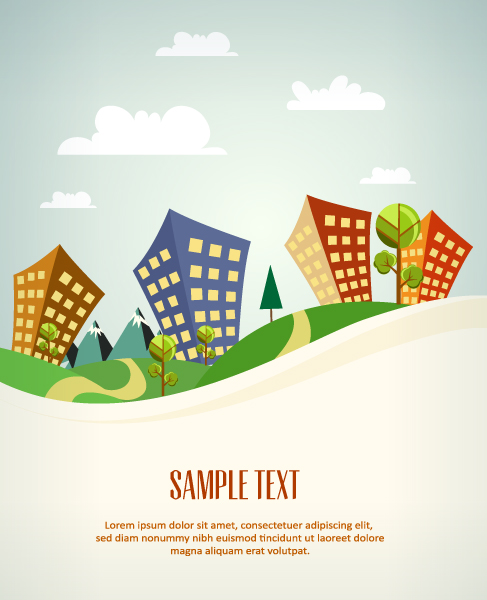 Cartoon city scenery vector 34