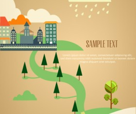 Cartoon city scenery vector 36