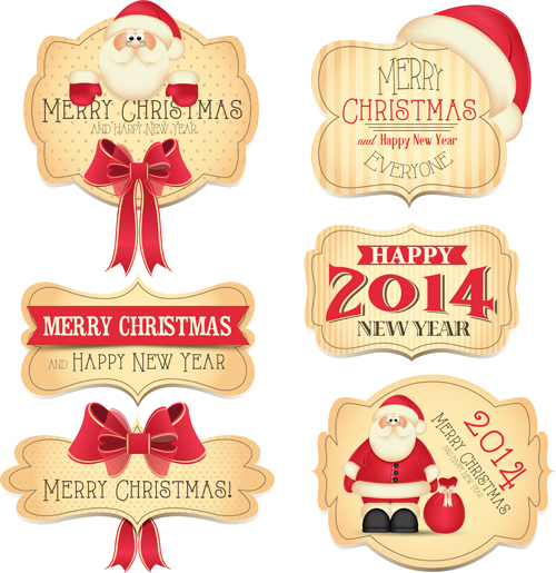 2014 Year Christmas Labels vector 02 - Vector Christmas, Vector ...