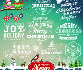 Christmas Logos and Decorations vector