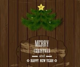 Christmas Wood background vector 02