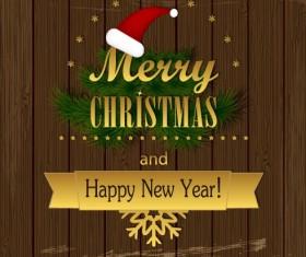 Christmas Wood background vector 03