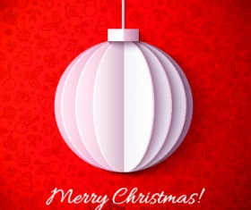 Paper Christmas ball vector backgroun 01