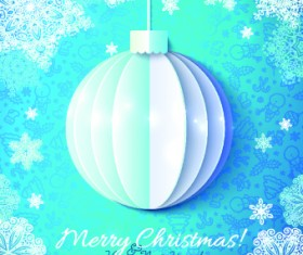 Paper Christmas ball vector backgroun 02