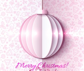 Paper Christmas ball vector backgroun 03