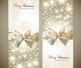 Christmas cards with bows design vector 02