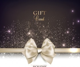 Christmas cards with bows design vector 05