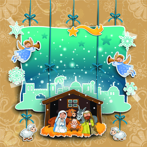 christmas cute greeting cards design vector 04