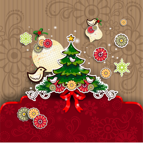Christmas Cute Greeting Cards Design Vector 05 Free Download