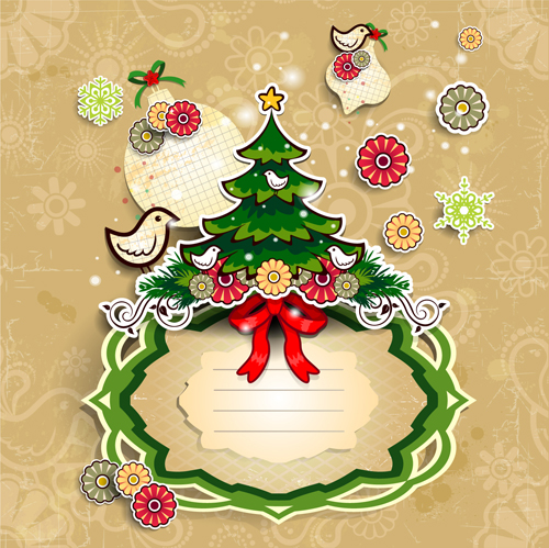 Christmas Cute Greeting Cards Design Vector 07