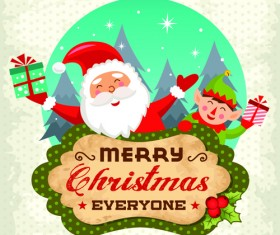 Christmas cute greeting cards design vector 08