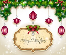 Christmas frames and baubles background vector