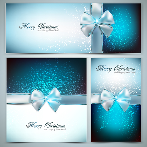 Christmas ornate gift cards vector set 05