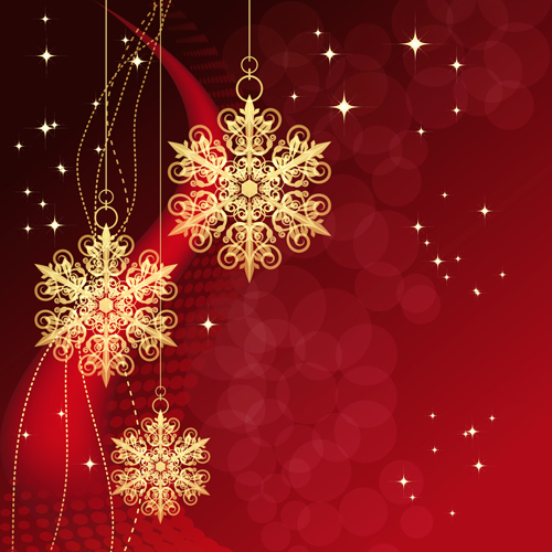 Christmas snowflake baubles background vector