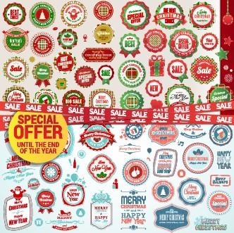 Christmas special offer labels vector 01