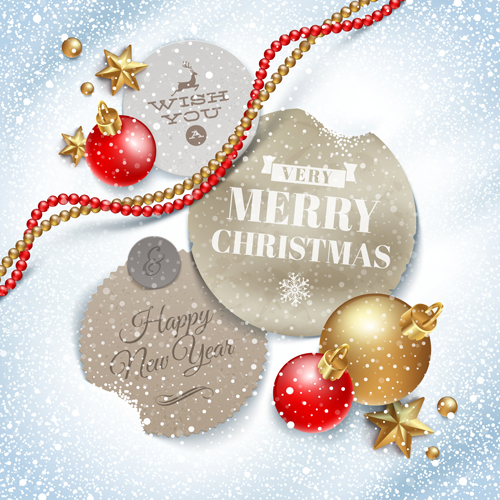 Christmas tags and baubles vector