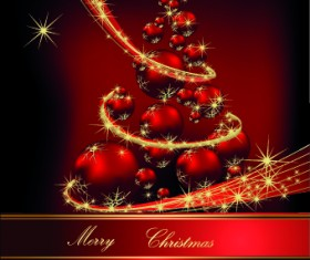 2014 Sparkling Christmas tree backgrounds vector 02