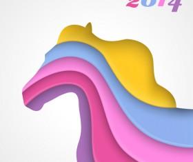 Creative 2014 Horses design elements vector 05