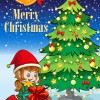 Cute Children and Christmas tree vector 01