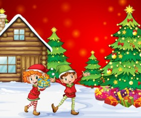 Cute Children and Christmas tree vector 02