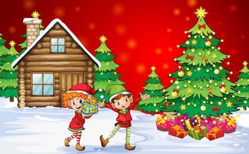 cute children and christmas tree vector 02 - Christmas Images For Children