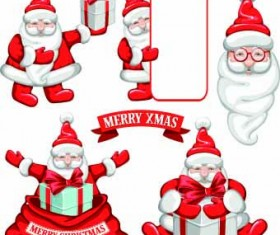 Cute Santa sale labels vector 01