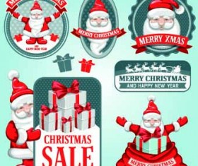 Cute Santa sale labels vector 02