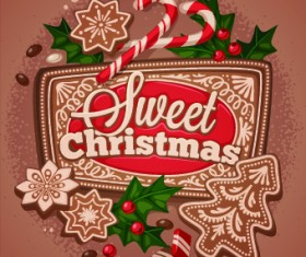 Cute Sweet Christmas cards vector