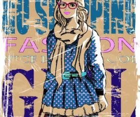 Fashion girl grunge background vector 01