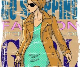 Fashion girl grunge background vector 04