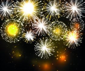 Beautiful Fireworks design vector background 01