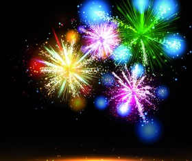 Multicolor Fireworks holiday vector 01