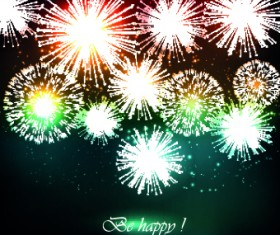 Beautiful Fireworks design vector background 02