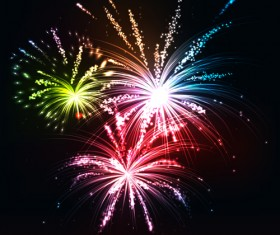Multicolor Fireworks holiday vector 03