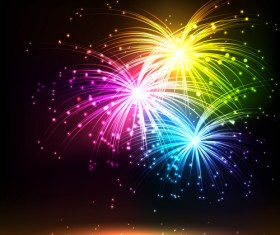 Multicolor Fireworks holiday vector 04