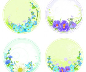Floral round frames vector