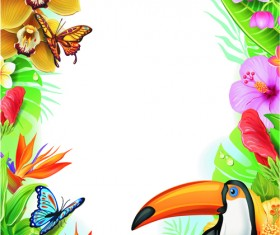 Beautiful flowers and butterflies vector background 01
