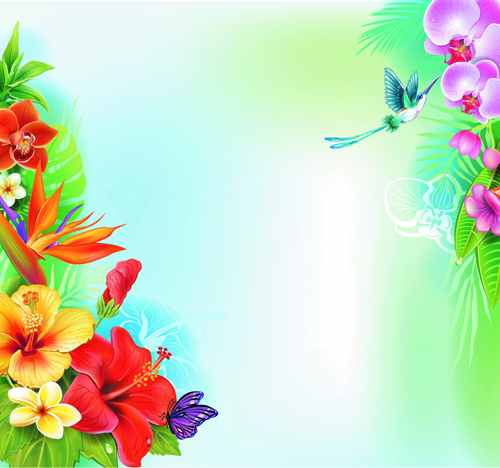 Beautiful Flowers And Butterflies Vector Background 02
