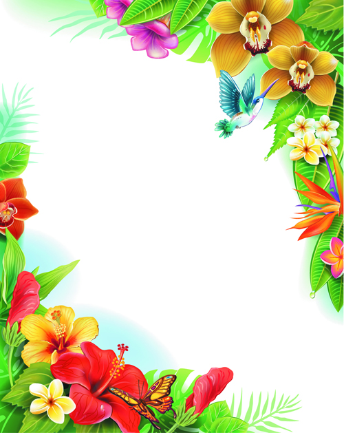 Flower And Butterfly Border Design