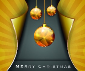 Golden Christmas baubles vector background