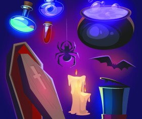Halloween elements icons vector 01
