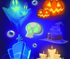 Halloween elements icons vector 02