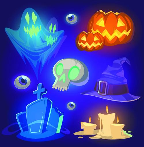 Halloween elements icons vector 02