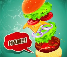 Hamburger poster design vector