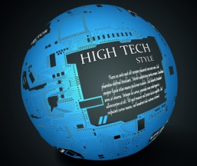 Earth with High tech background vector 01