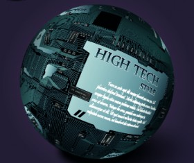 Earth with High tech background vector 02