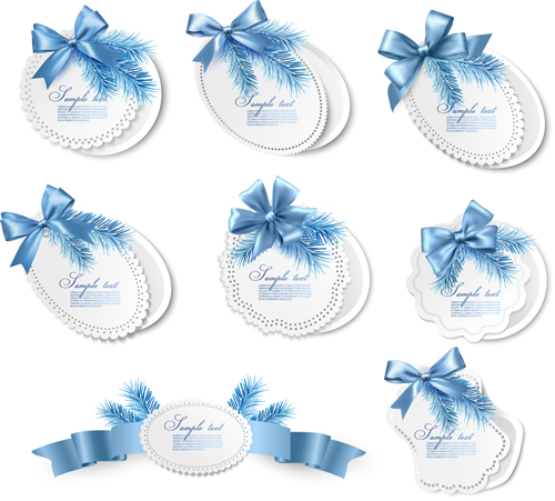Beautiful Paper Labels Bows vector 03