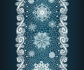 Christmas Snowflake Lace vector set 02
