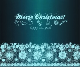 Christmas Snowflake Lace vector set 04