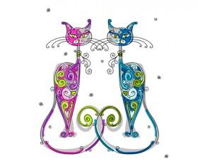 Amusing Christmas cats vector graphics 03